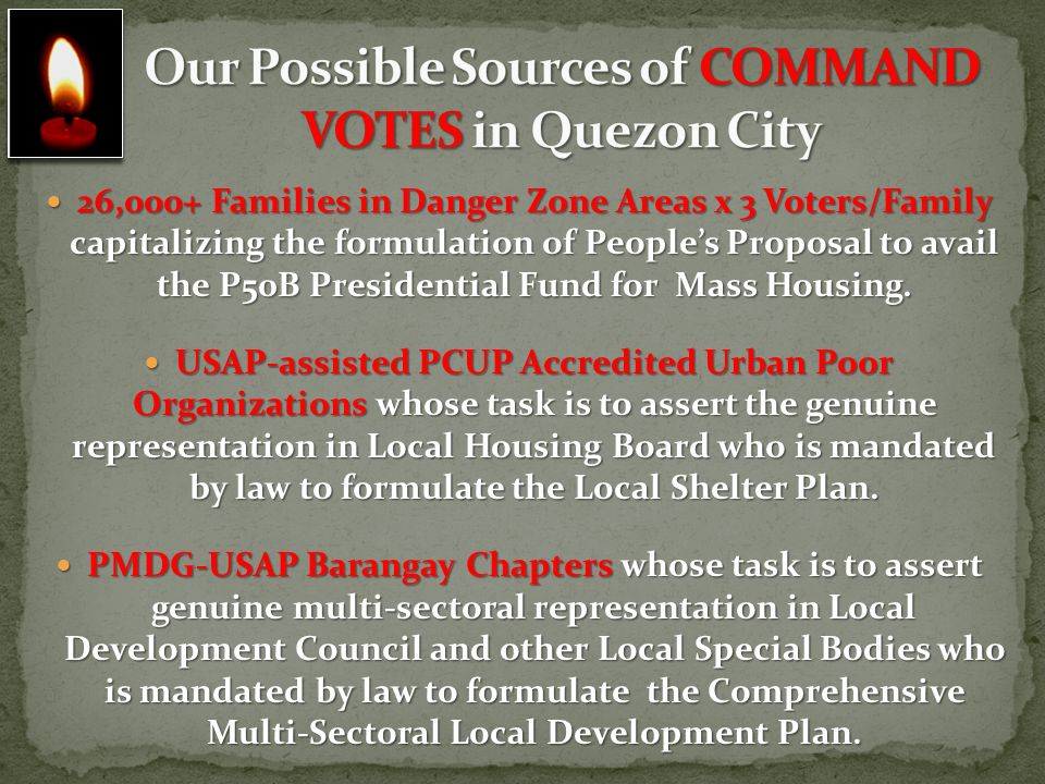 Our Possible Sources of COMMAND VOTES in Quezon City