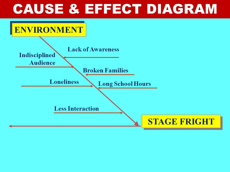 CAUSE & EFFECT DIAGRAM ENVIRONMENT STAGE FRIGHT Lack of Awareness