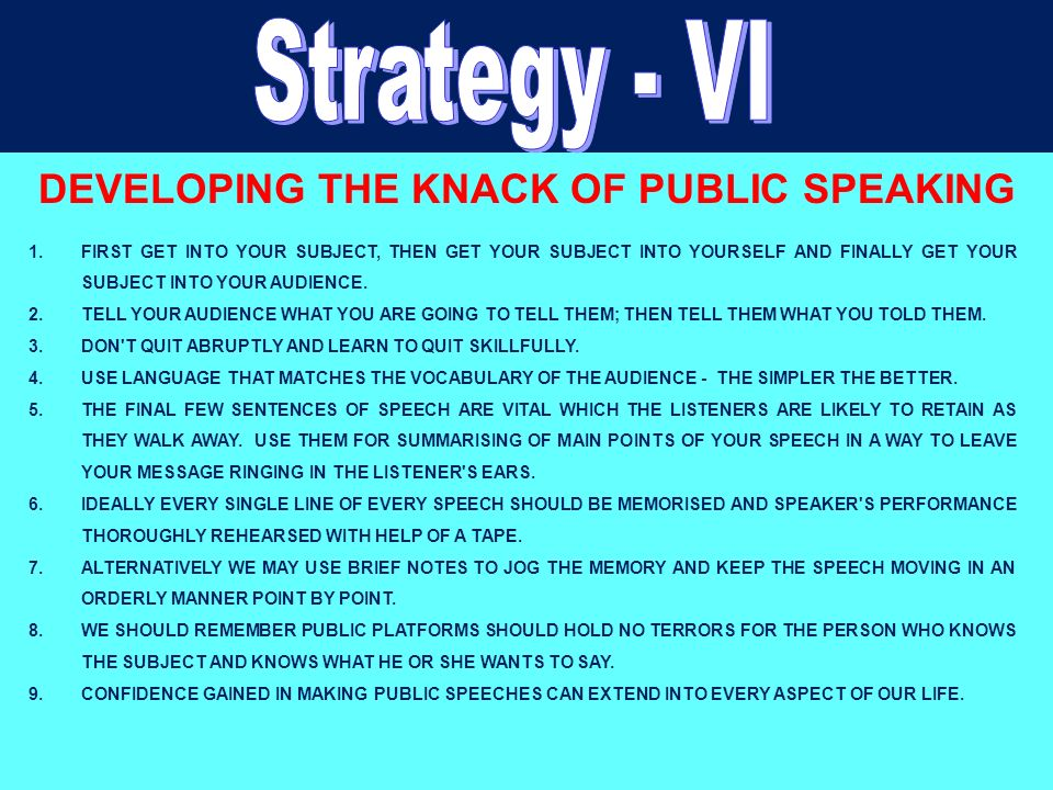 DEVELOPING THE KNACK OF PUBLIC SPEAKING