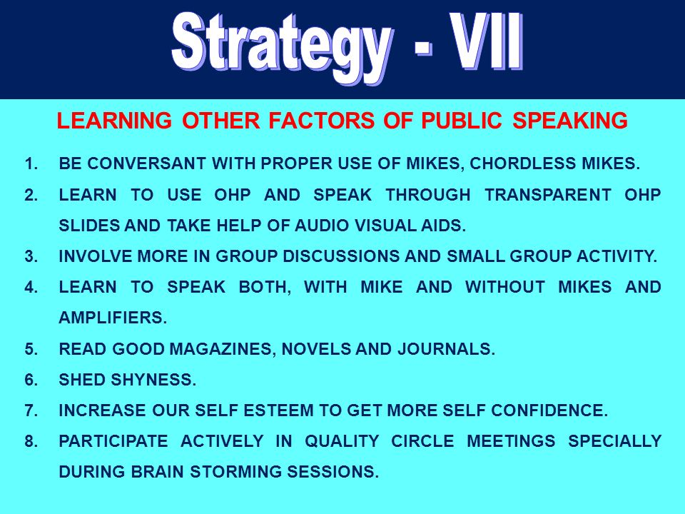 LEARNING OTHER FACTORS OF PUBLIC SPEAKING