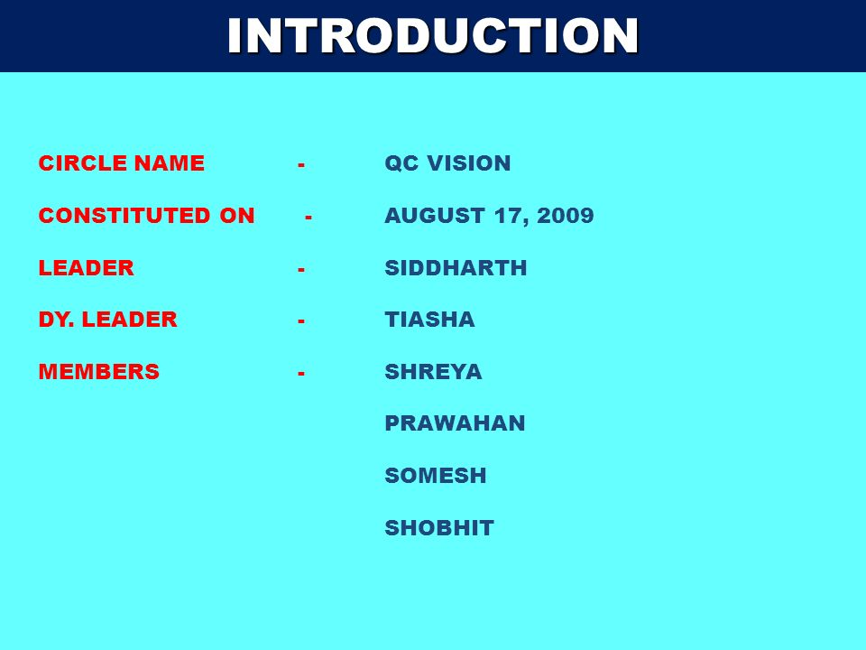 INTRODUCTION CIRCLE NAME - QC VISION CONSTITUTED ON - AUGUST 17, 2009