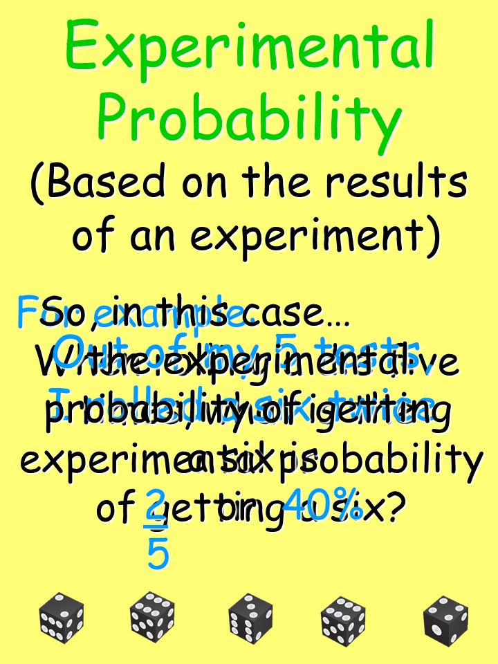 Experimental Probability (Based on the results of an experiment)