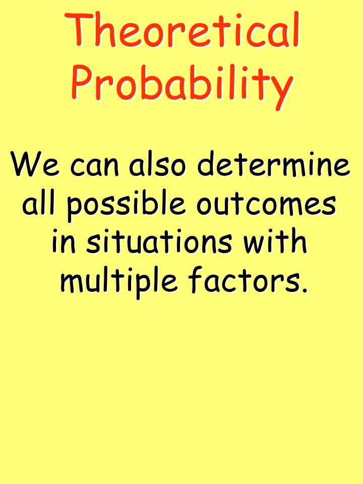 Theoretical Probability We can also determine all possible outcomes