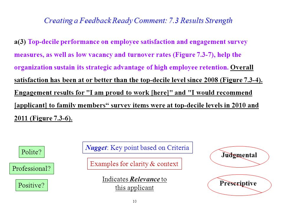 Creating a Feedback Ready Comment: 7.3 Results Strength
