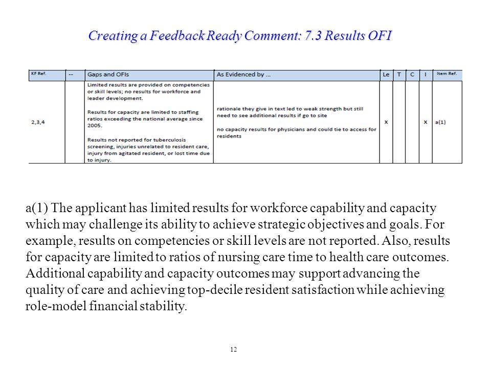 Creating a Feedback Ready Comment: 7.3 Results OFI