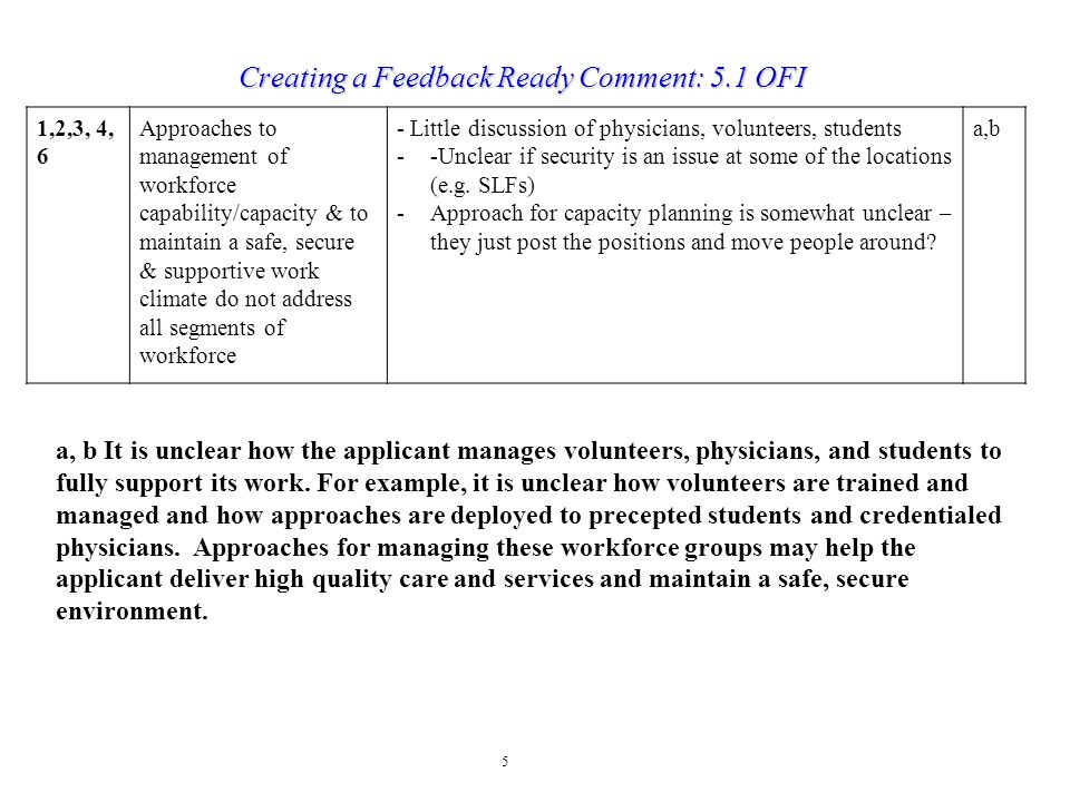 Creating a Feedback Ready Comment: 5.1 OFI