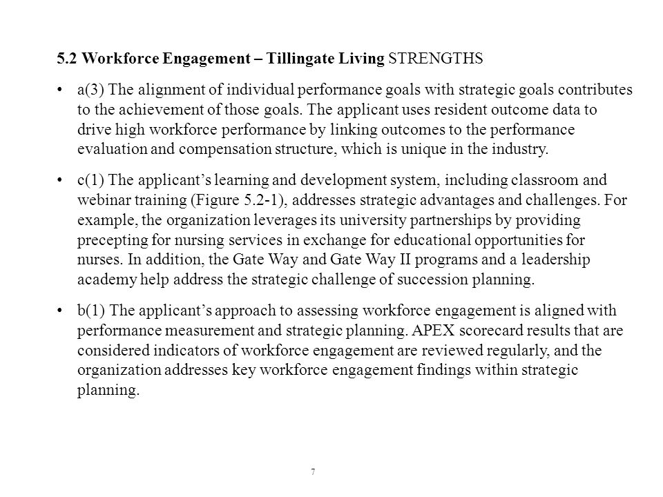 5.2 Workforce Engagement – Tillingate Living STRENGTHS