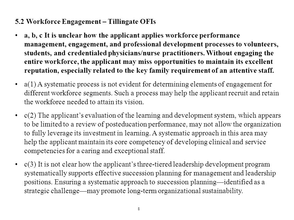 5.2 Workforce Engagement – Tillingate OFIs