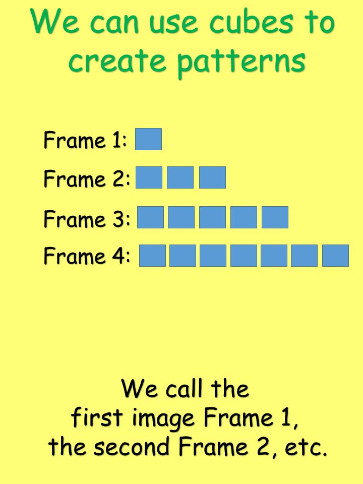 We can use cubes to create patterns We call the first image Frame 1,