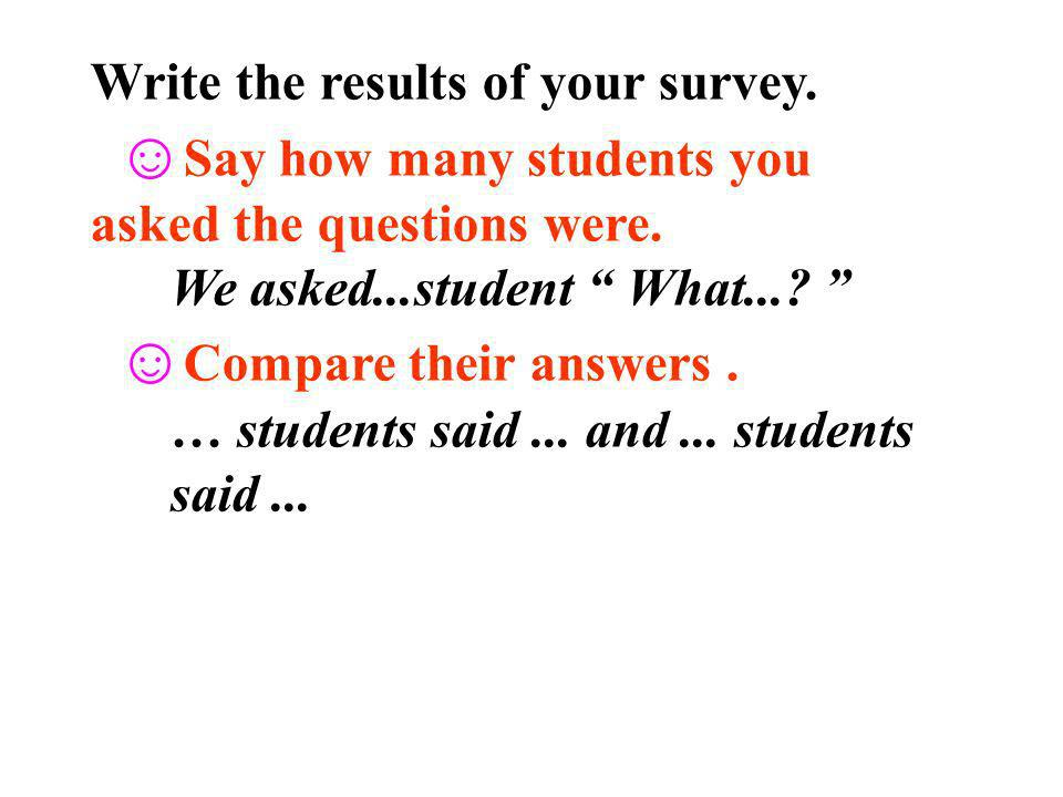 Write the results of your survey.