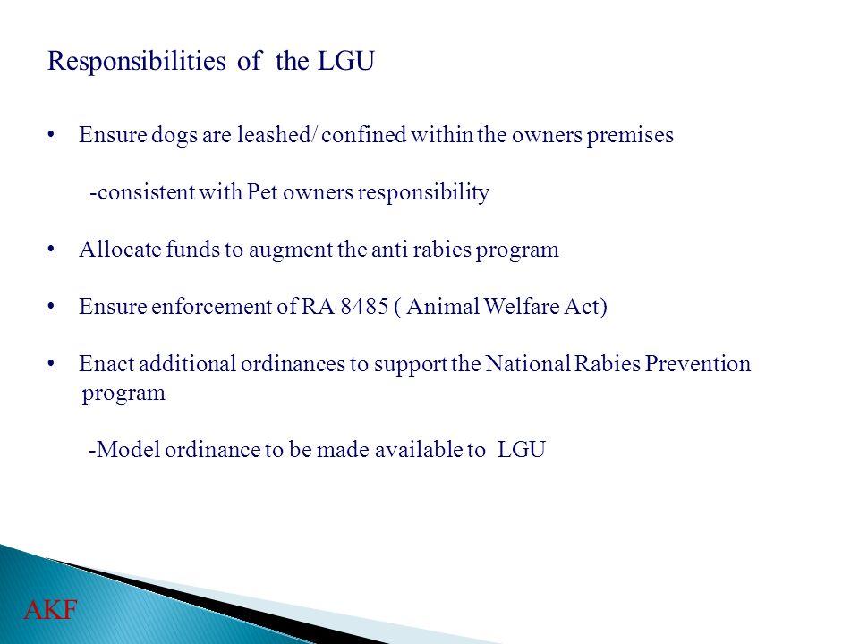 Responsibilities of the LGU