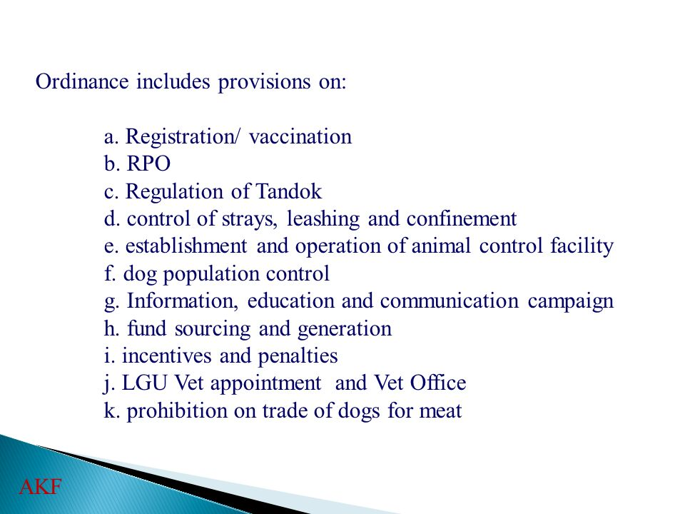 Ordinance includes provisions on: