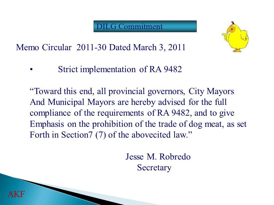 Memo Circular 2011-30 Dated March 3, 2011