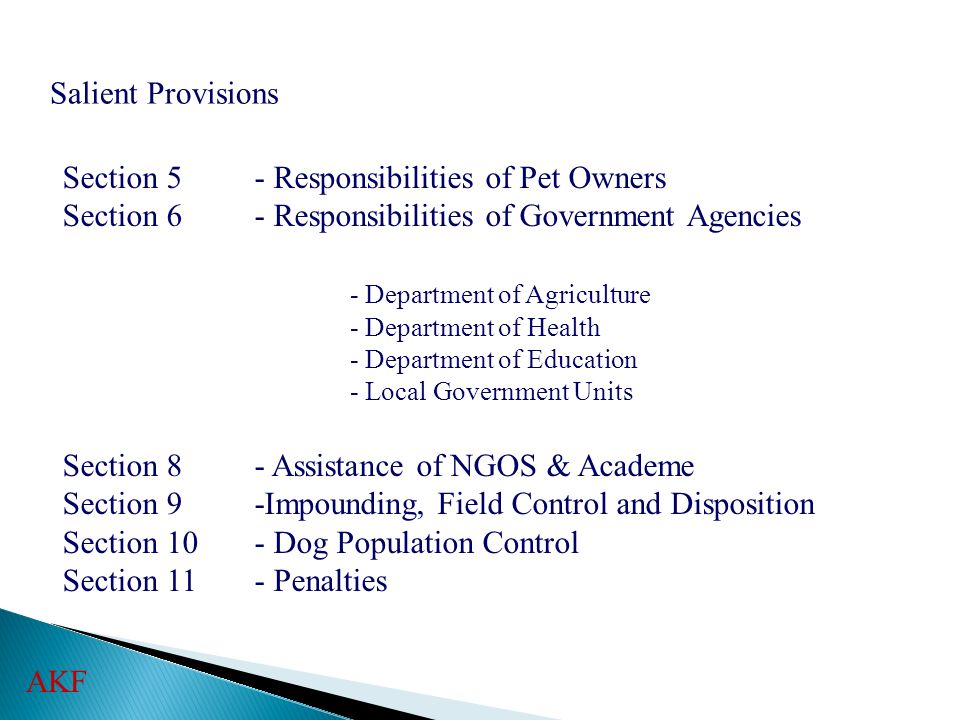Section 5 - Responsibilities of Pet Owners