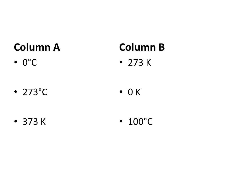 Column A Column B 0°C 273°C 373 K 273 K 0 K 100°C