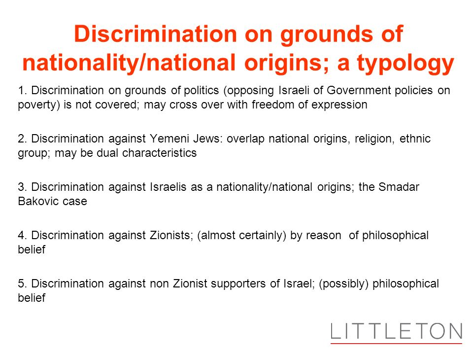 Discrimination on grounds of nationality/national origins; a typology