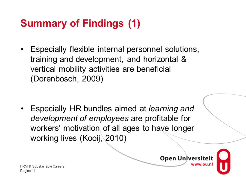 Summary of Findings (1)