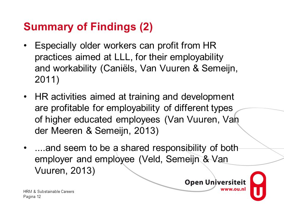 Summary of Findings (2)