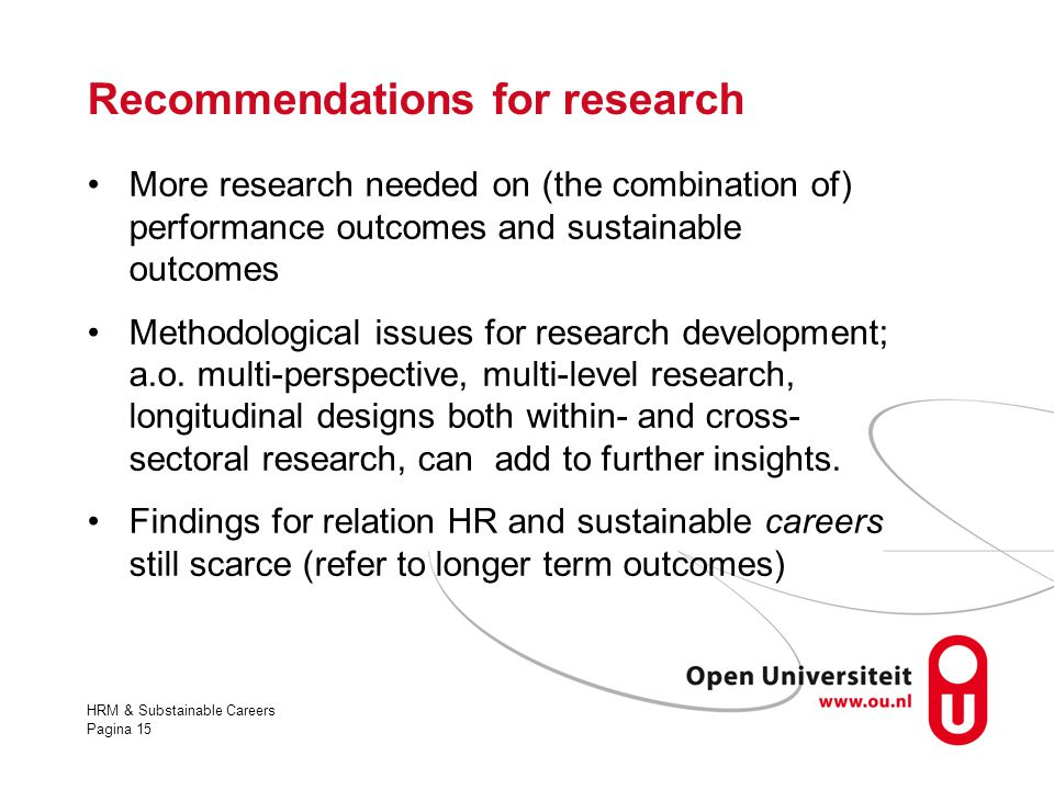 Recommendations for research