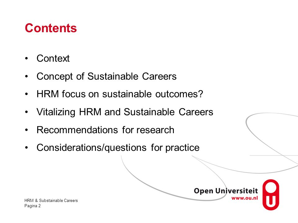 Contents Context Concept of Sustainable Careers