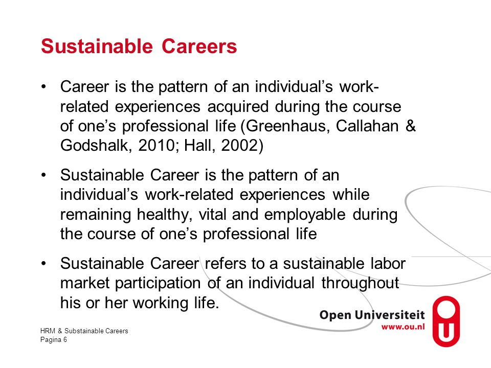 Sustainable Careers
