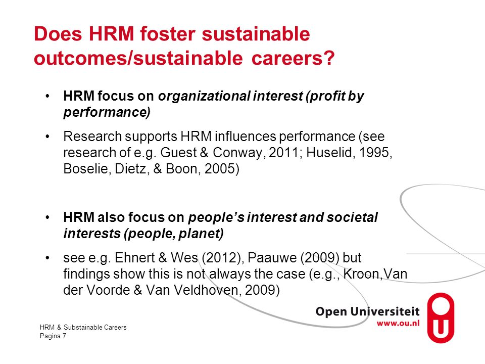Does HRM foster sustainable outcomes/sustainable careers