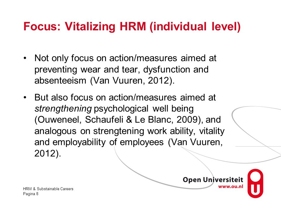 Focus: Vitalizing HRM (individual level)