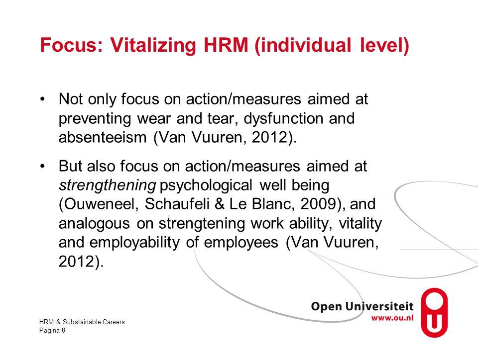 Focus: Vitalizing HRM (individual level)