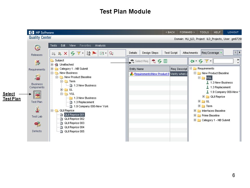 Test Plan Module Select Test Plan
