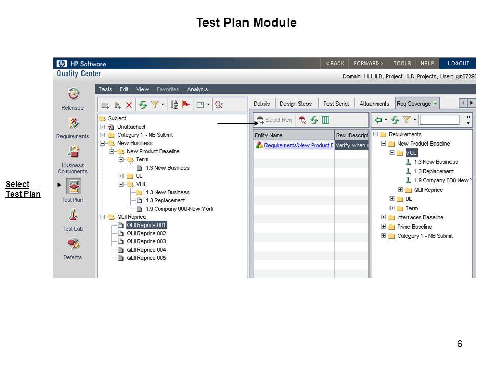 Test Plan Module Select Test Plan