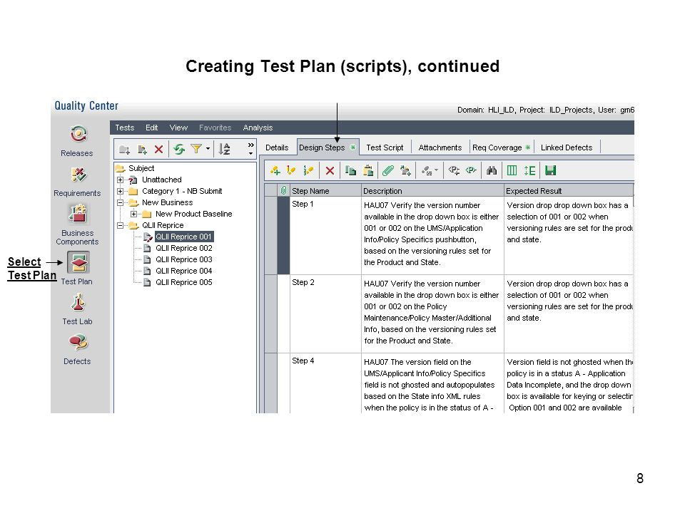 Creating Test Plan (scripts), continued