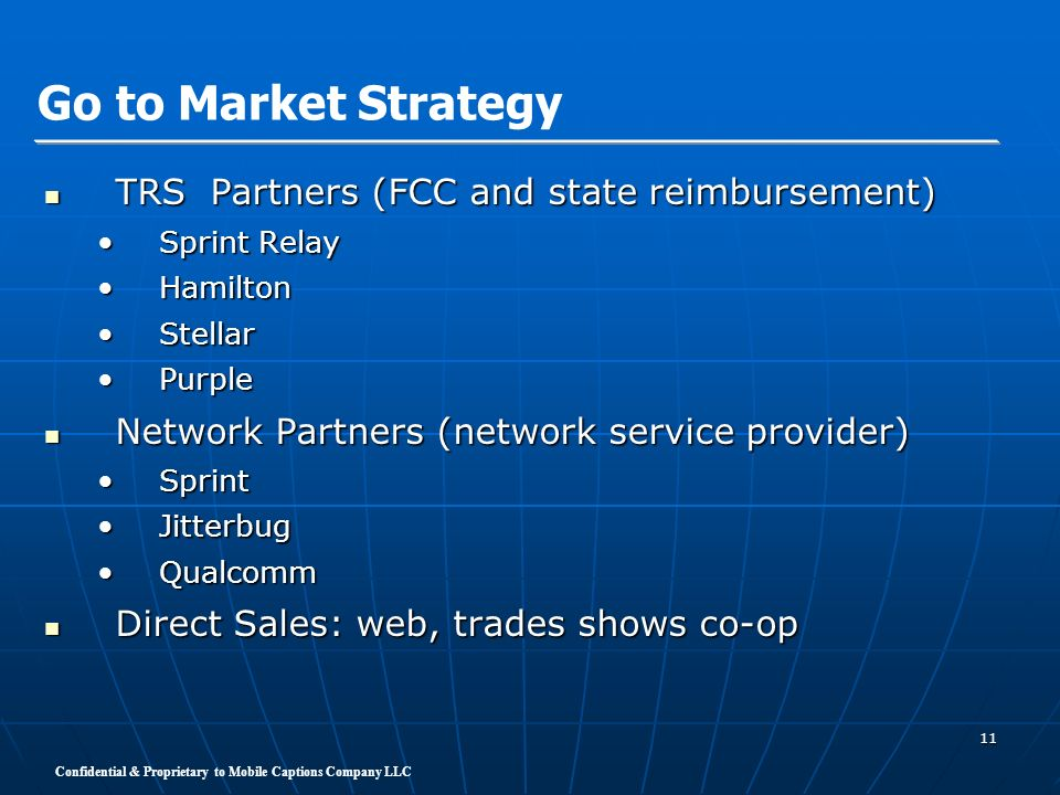 Go to Market Strategy TRS Partners (FCC and state reimbursement)