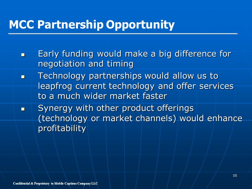 MCC Partnership Opportunity