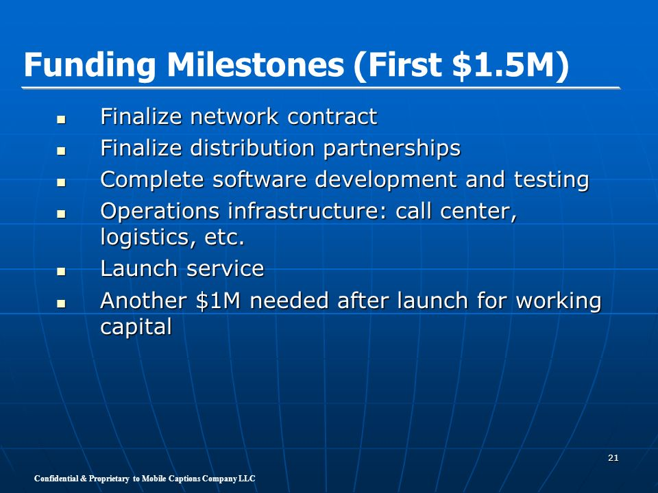 Funding Milestones (First $1.5M)