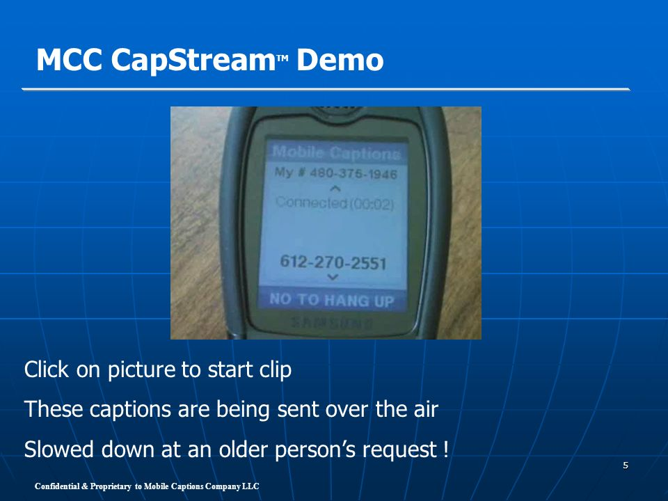 MCC CapStreamTM Demo Click on picture to start clip