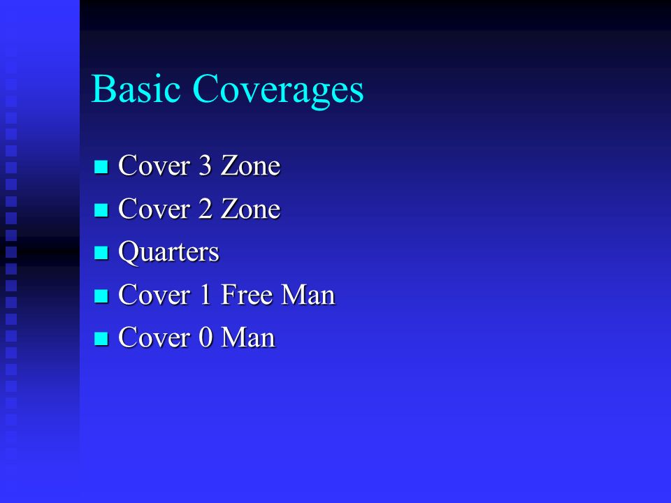 Basic Coverages Cover 3 Zone Cover 2 Zone Quarters Cover 1 Free Man
