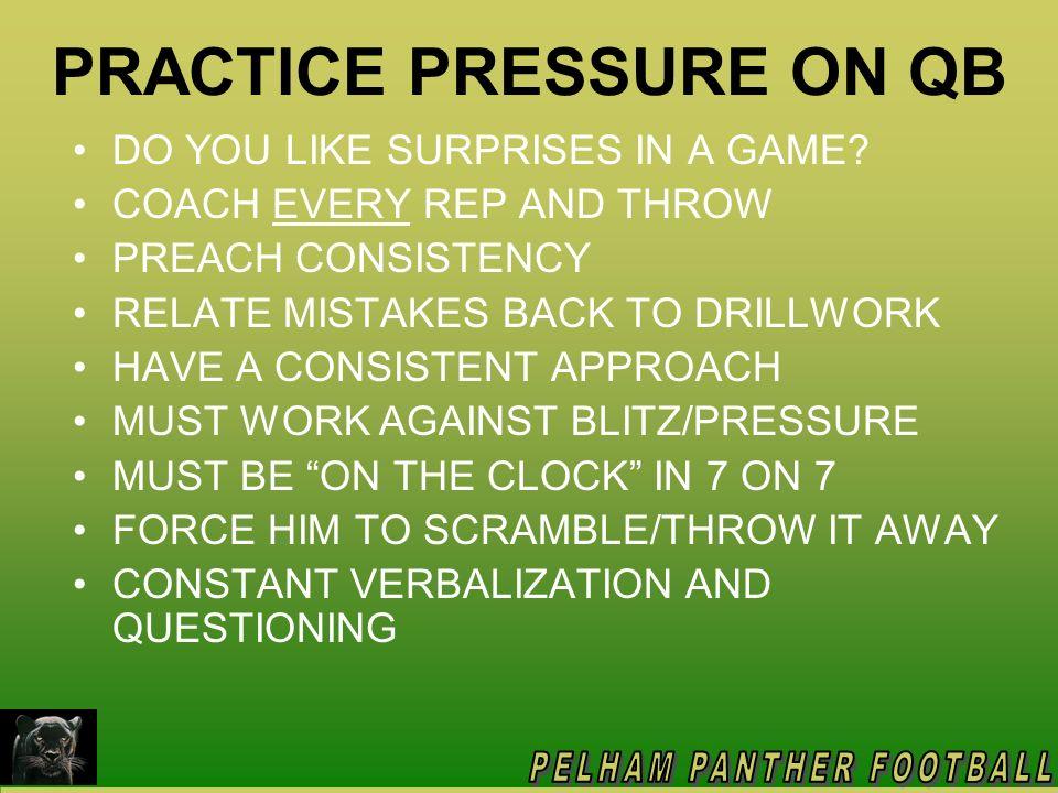 PRACTICE PRESSURE ON QB