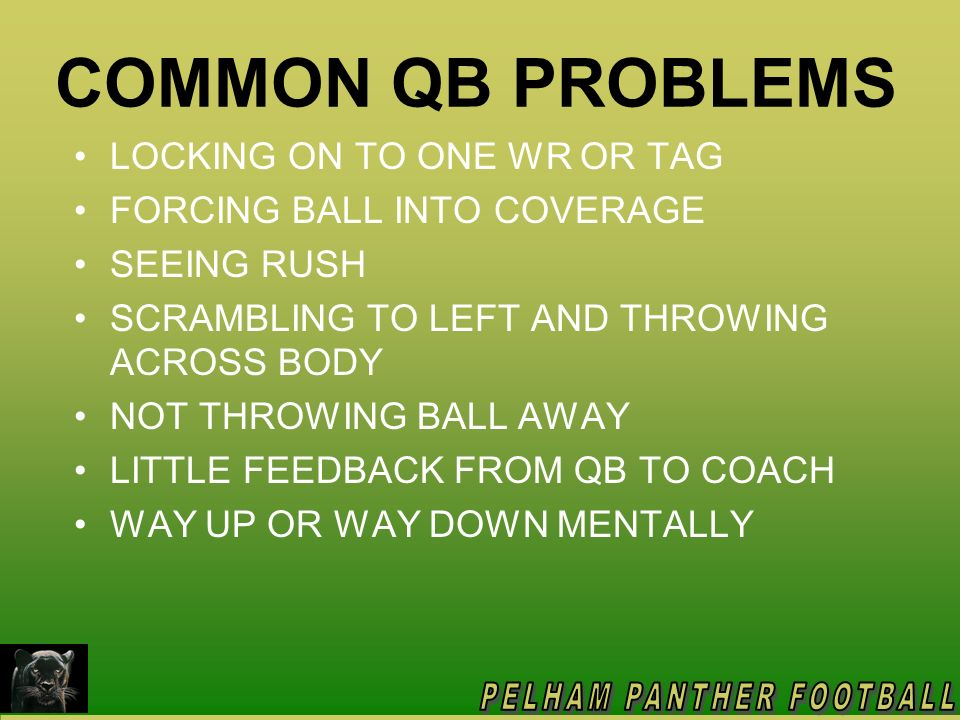 COMMON QB PROBLEMS LOCKING ON TO ONE WR OR TAG
