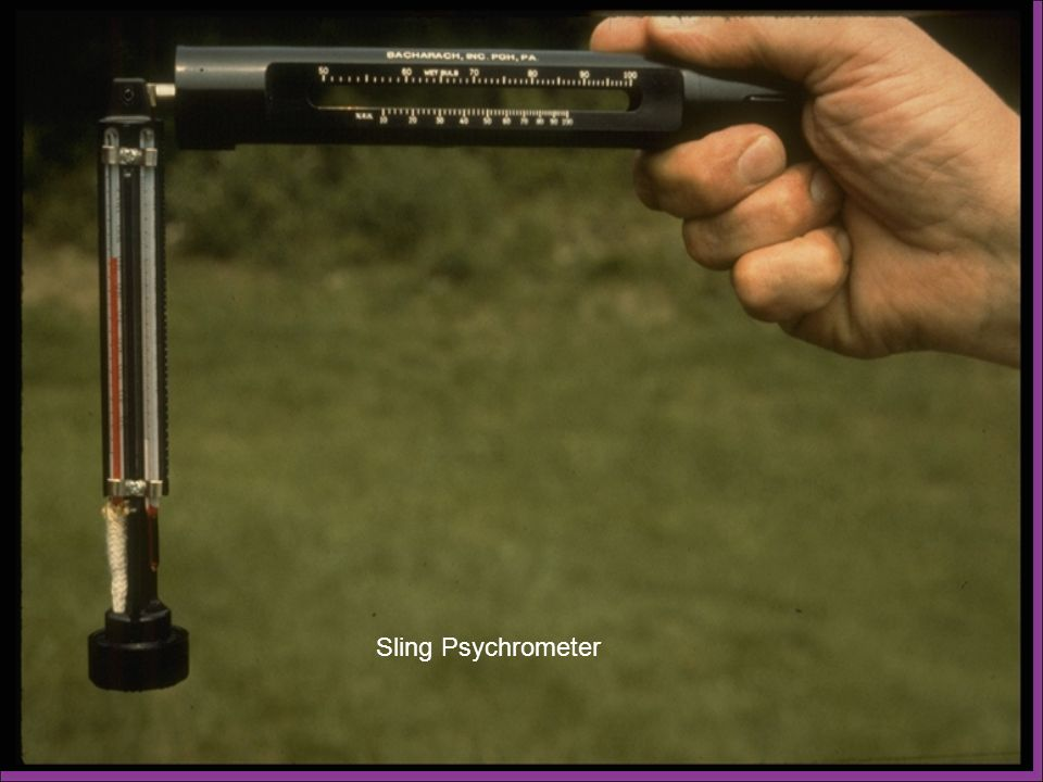 The sling psychrometer consists of a housing containing two bulb thermometers. The thermometers are identical, except that one contains a woven cotton filament or wick over one end. Since this wick will become saturated with water, we refer to this as the wet bulb thermometer. The other thermometer indicates the air temperature and is called the dry bulb thermometer. The thermometers are available in Fahrenheit or Celsius and are available from several manufacturers.