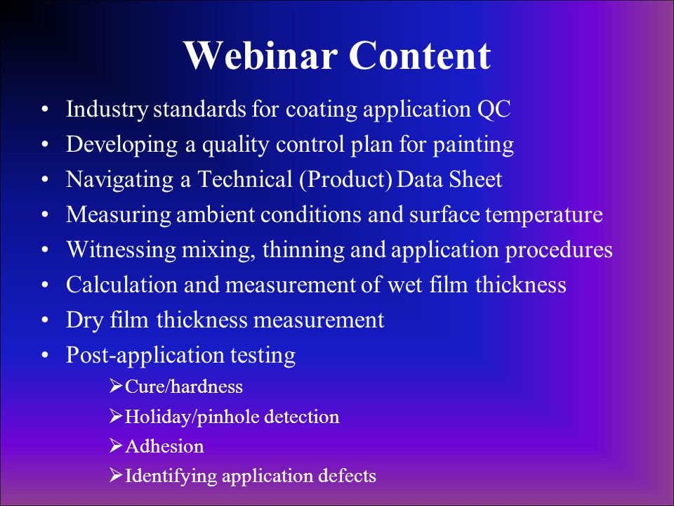 Webinar Content Industry standards for coating application QC
