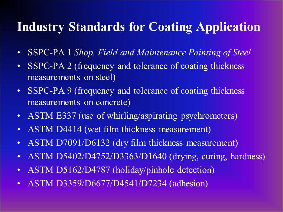 Industry Standards for Coating Application