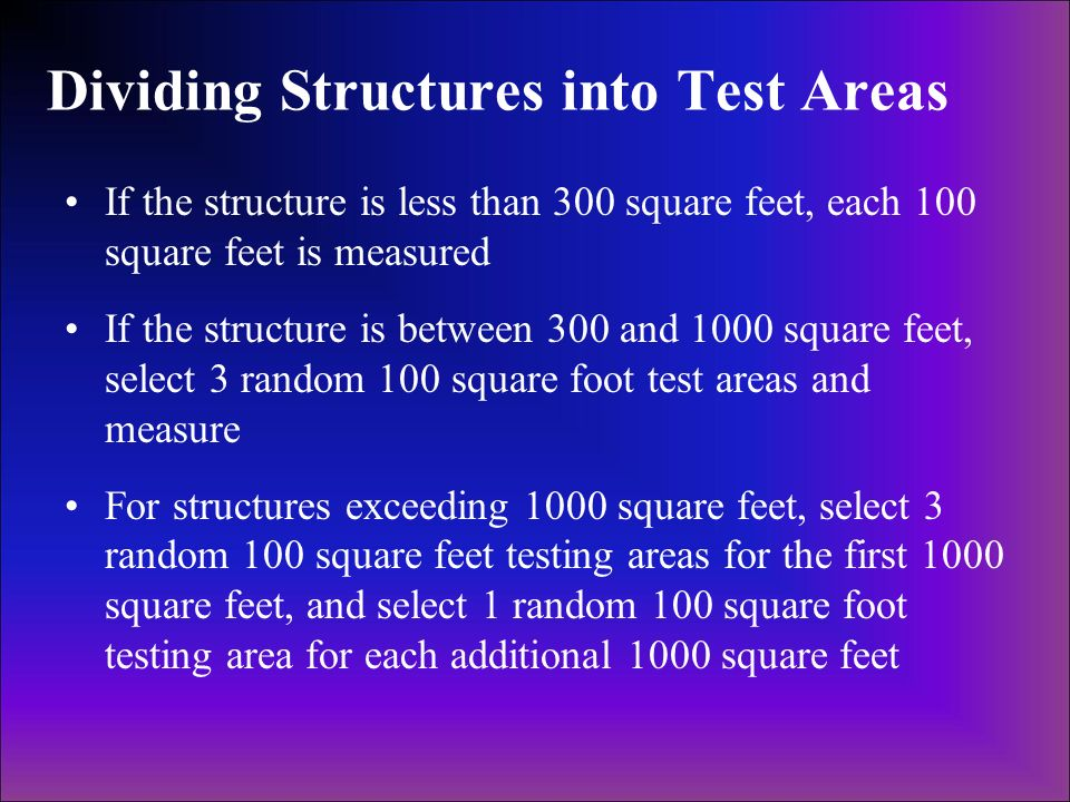 Dividing Structures into Test Areas