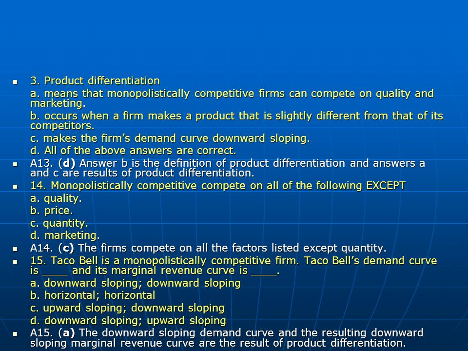 3. Product differentiation
