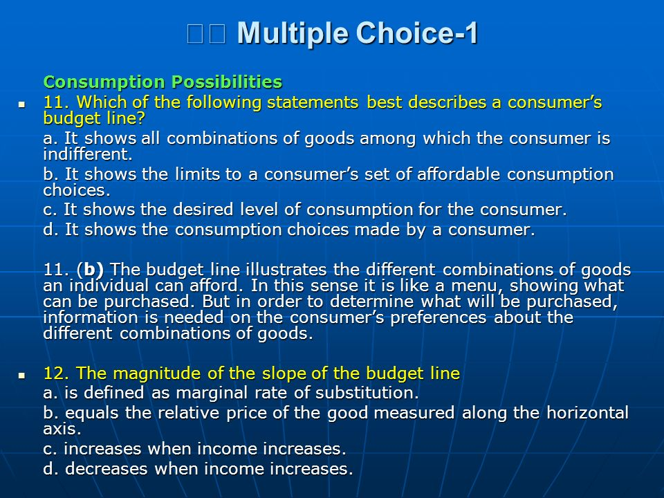 􀂄 Multiple Choice-1 Consumption Possibilities