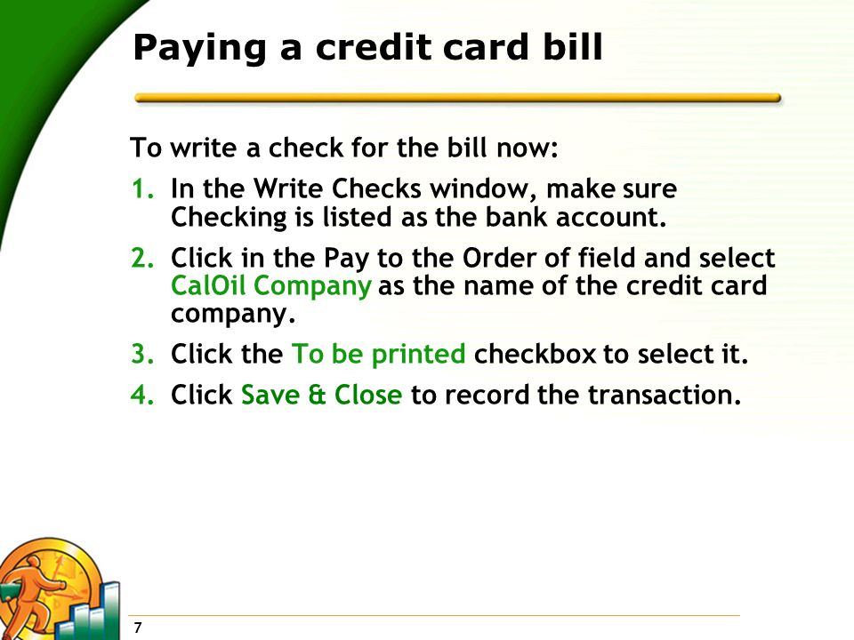 Paying a credit card bill