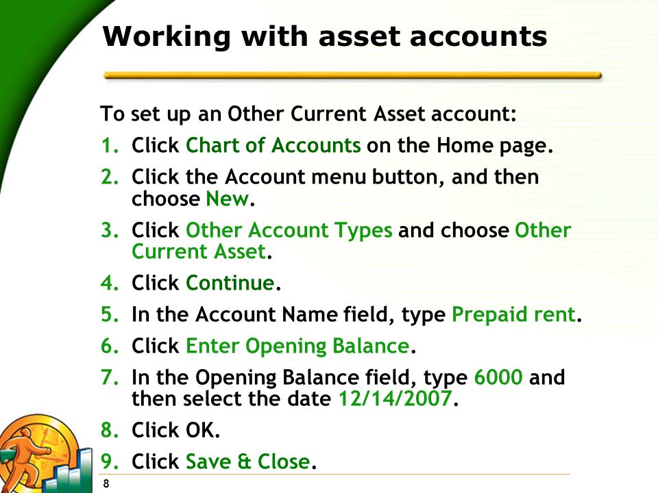 Working with asset accounts