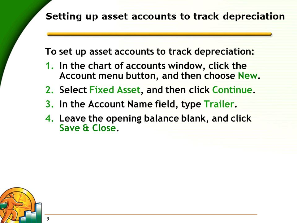 Setting up asset accounts to track depreciation