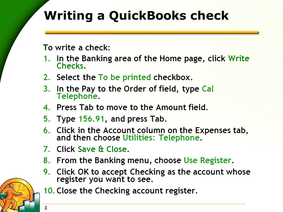 Writing a QuickBooks check