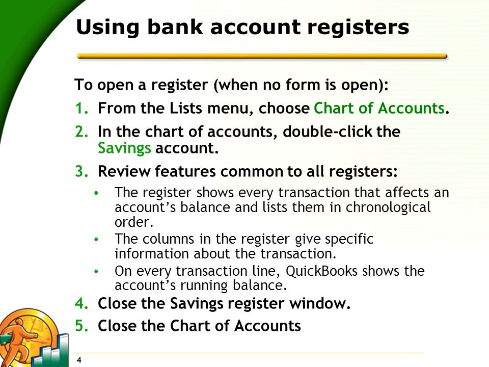 Using bank account registers