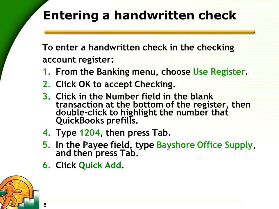 Entering a handwritten check